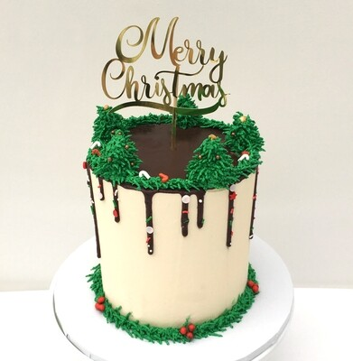 Extra Height Butter Cream Christmas Cake With Card Topper