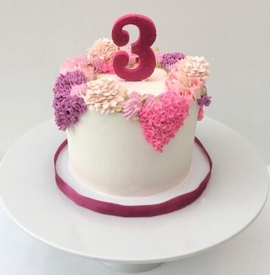 Butter Cream Flower Crown Cake - Pale, Dark Pink & Violet