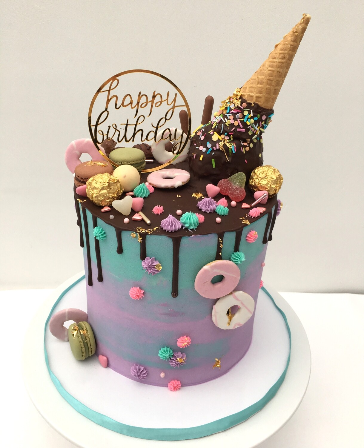 Pink & Green Butter Cream with Dark Chocolate Drip & Cone (Excluding Topper)