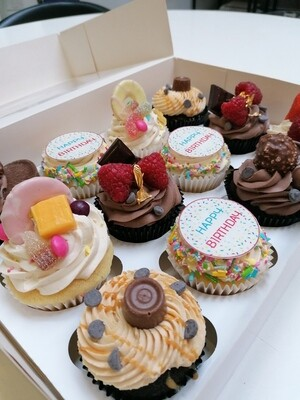Assorted Cupcakes With Edible Image Greeting