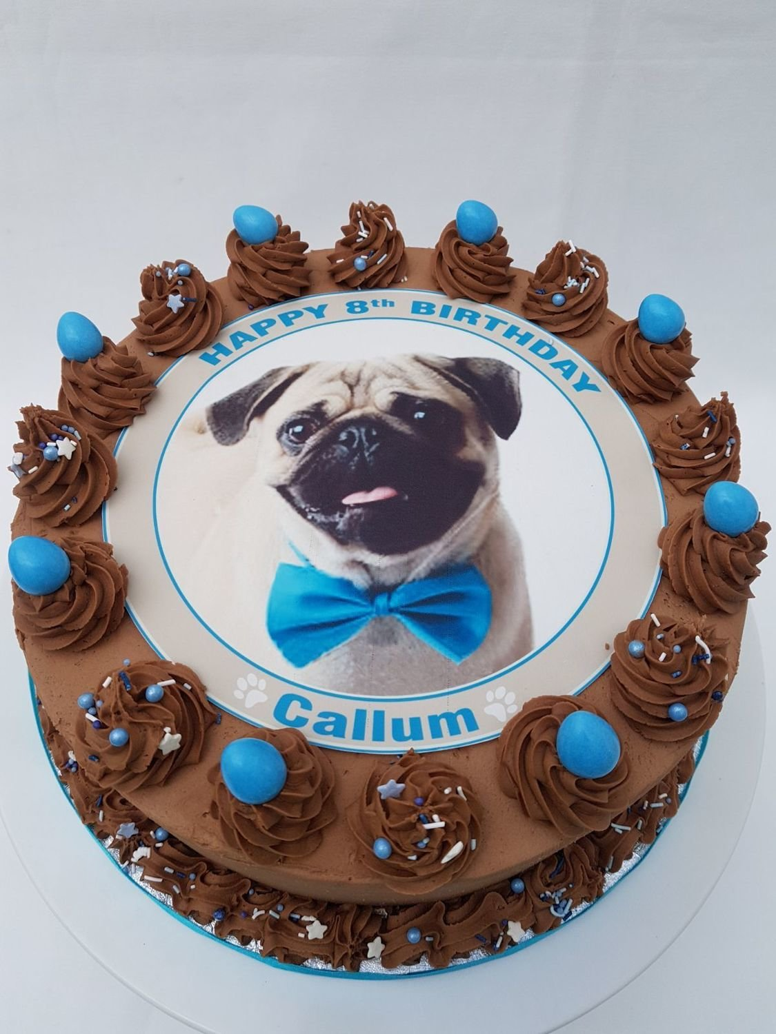 Pug With Blue or Pink Bow Edible Image Cake