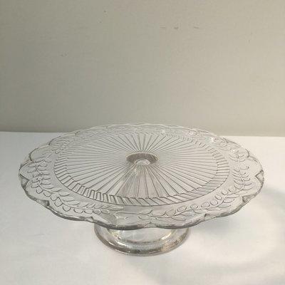 Glass - Round - Medium - Pedestal -  Scalloped Edge - 1 Tier Cake Stand - Code TG011