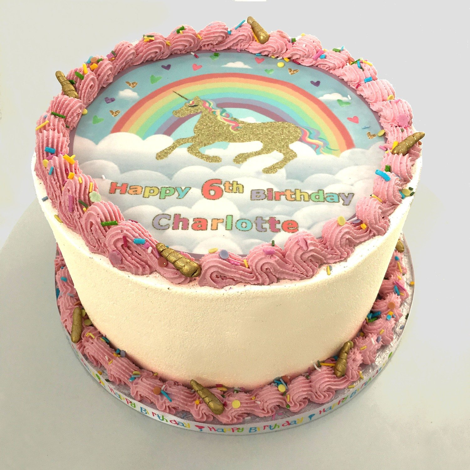 Rainbow Unicorn Edible Image Cake