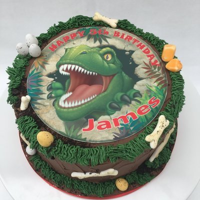 Dinosaur Edible Image Cake With Chocolate Butter Cream Icing
