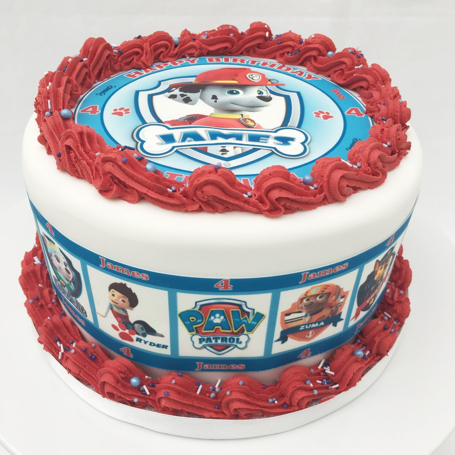 Paw Patrol Edible Image Cake - With Red Butter Cream