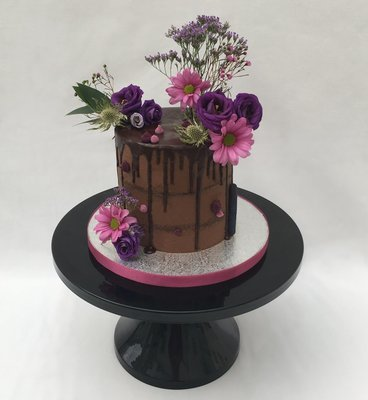 Chocolate Butter Cream with Fresh Pink, Purple & Flowers