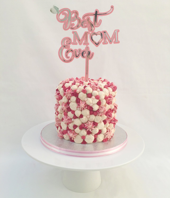 Pink, Raspberry & White Butter Cream Swirls (Excluding Happy Birthday Topper).