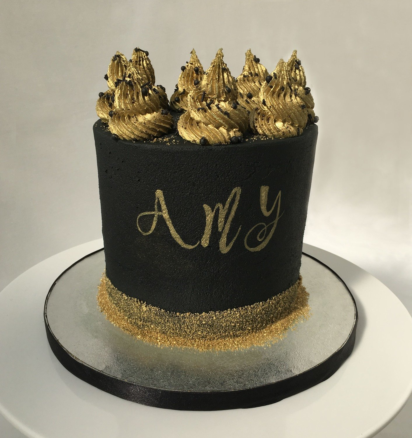 Black Butter Cream With Gold Swirls and Name
