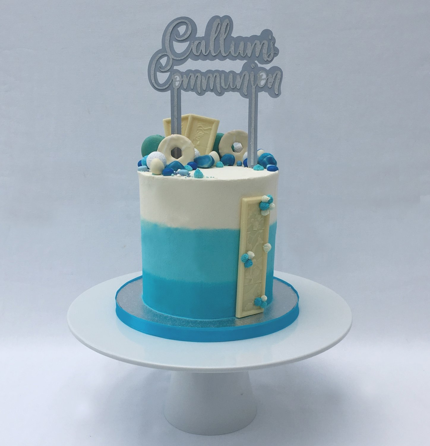 Boy or Girl's  Ombre  Cake - Choice of Blue or Pink (Excluding Topper).