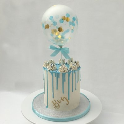 Boy's White Butter Cream & Blue Chocolate Drip With Cake Balloon