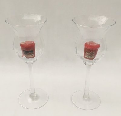 Glass - Tall Candle or Flower Holders x 2 - Code: GTC38