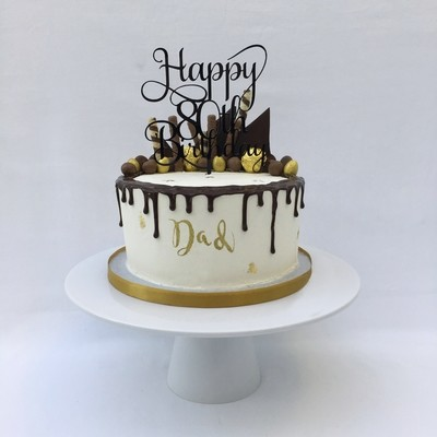 White Butter cream with Chocolate Drip & Chocolate Shards (Excluding Happy Birthday Topper).