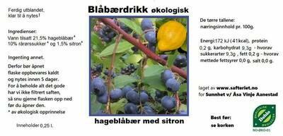 ØKOLOGISK BLÅBÆRDRIKK
