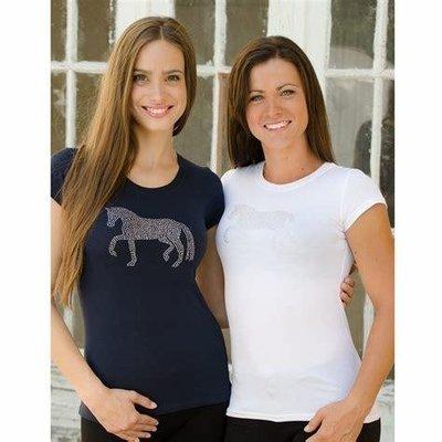 Cavalierra Black Horse Bling T-Shirt