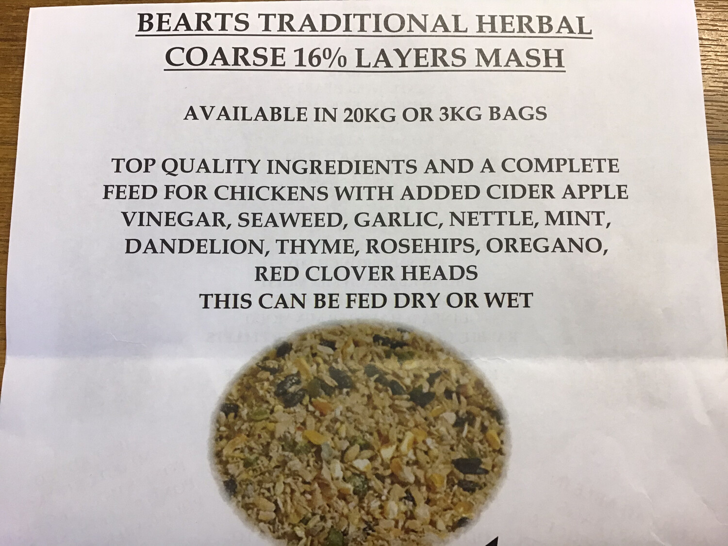 BEARTS TRADITIONAL HERBAL COURSE 16% LAYERS MASH. 20kg