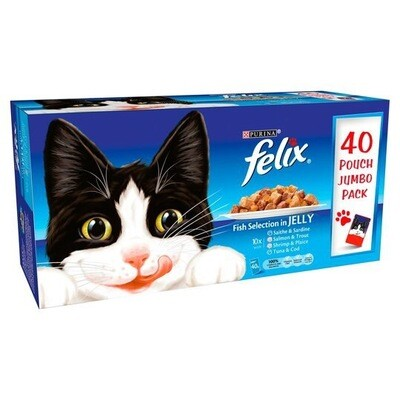 FELIX FISH SELECTION IN JELLY 40 POUCH JUMBO