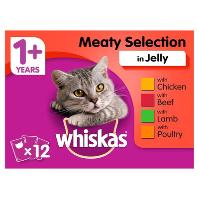WHISKAS MEATY SELECTION INJELLY 12 POUCHES
