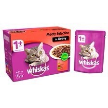 WHISKAS MEATY SELECTION IN GRAVY 12 POUCHES