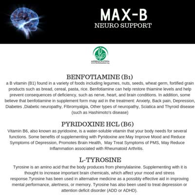 MAX-B COMPOUND Pyridoxine HCL (B6), Benfotiamine (B1), L-Tyrosine