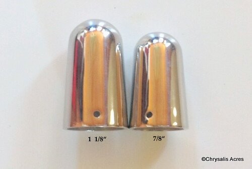 """Shaft Tips 1-1/8"""" Stainless Steel. Heavy, machined w/high polish"""