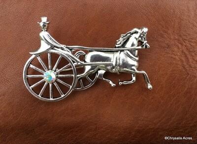 Single Horse and Cart Brooch Pin