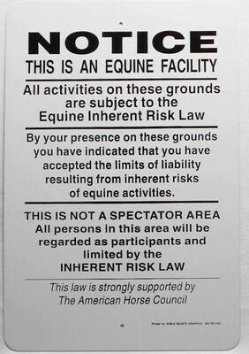 Equine Liability Sign Supplement