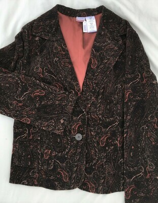 Brown Pattern Blazer Sz 17 Juniors