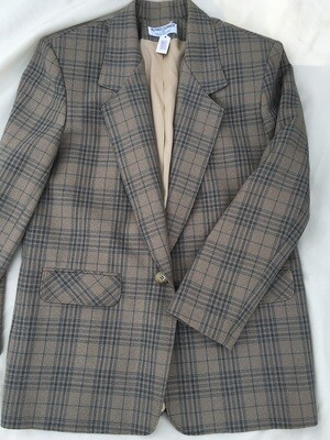 Light Brown w/Blue Plaid Blazer Sz 8