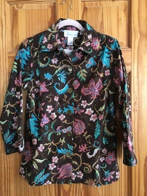 Brown Patterned Blouse - Size XS