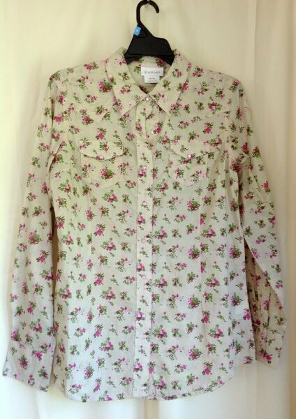 Ariat Cream and Pink Blouse
