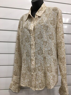 Blouse - Cream and Tan Size M