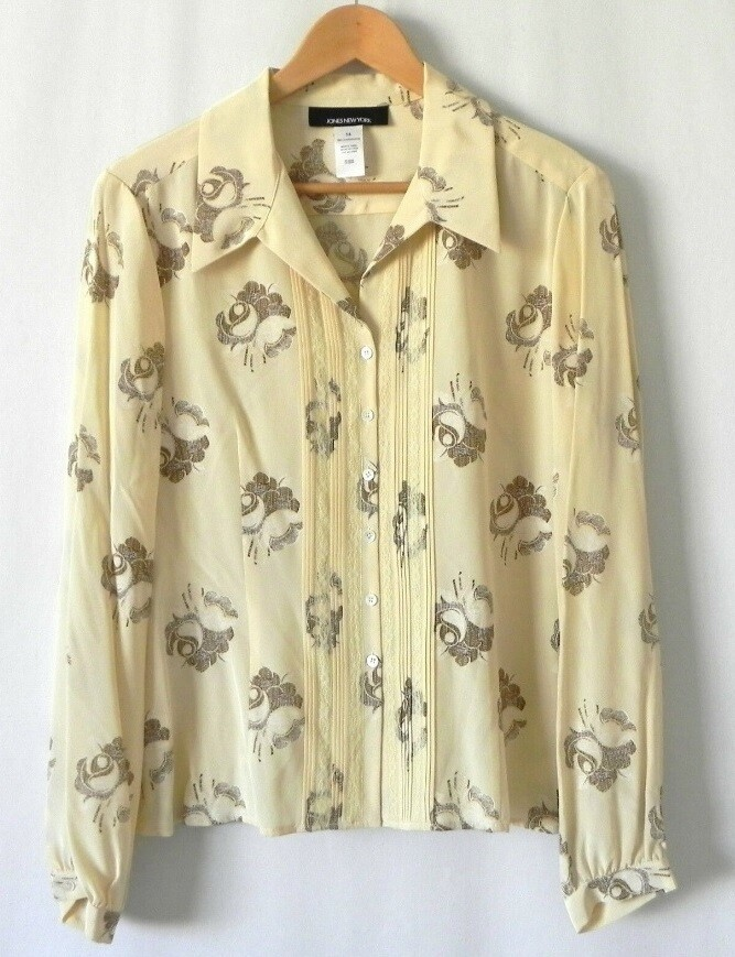 Blouse - Cream with brown roses. Silk