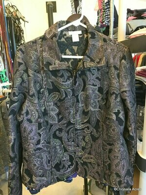 Black with Purple Paisley, Full Zip. Size Large