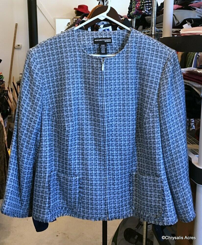 Blue Woven Full Zip  Size 22