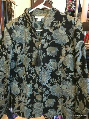 Black w/Teal Floral pattern Jacket Size M
