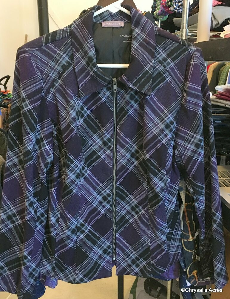 Purple Plaid Full Zip Jacket Size L