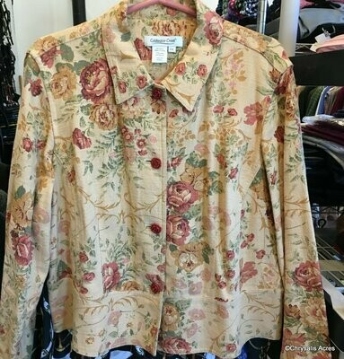 Dark Cream with Floral Pattern Jacket  Size PXL