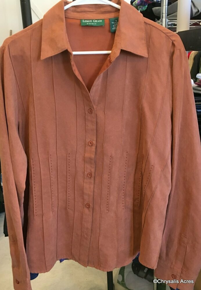Blouse - Copper Brown - Micro Suede Size XL