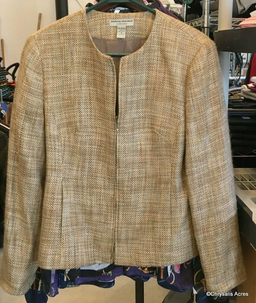 Tan Woven Full Zip Jacket size 6