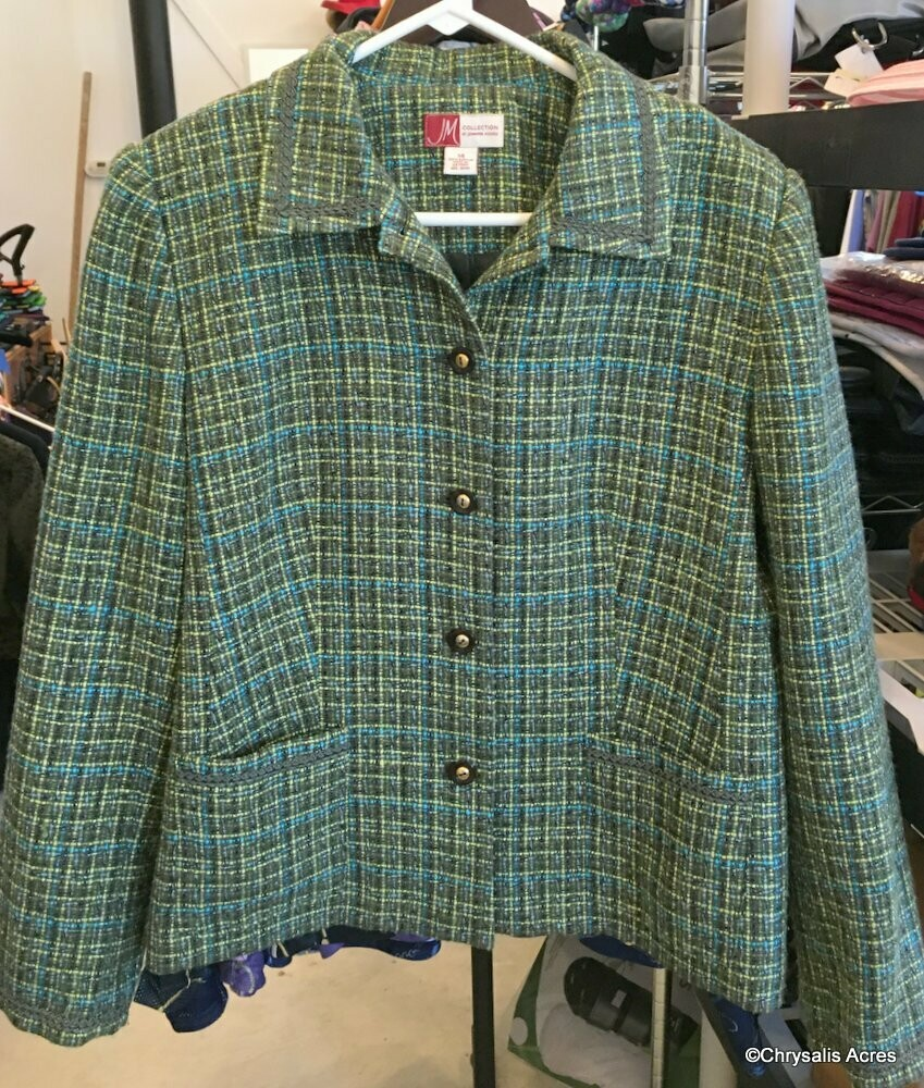 Green-Blue Woven Jacket Size 14