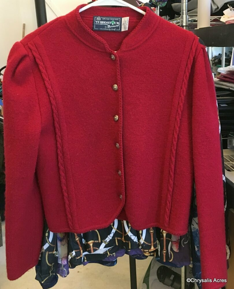 Red Boiled Wool Jacket Size 38