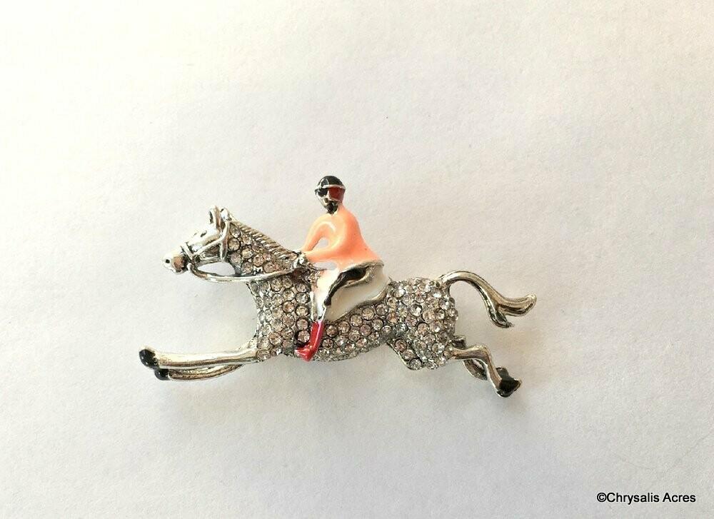 Crystal Horse and Rider Brooch Pin