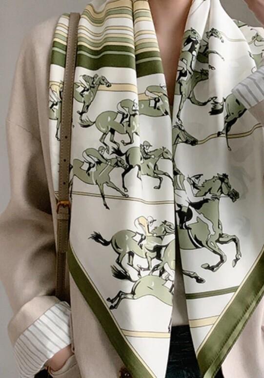 Scarf - Race Horses - Green