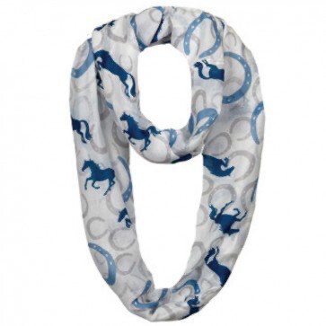 Scarf -  Infinity- Blue Horseshoes