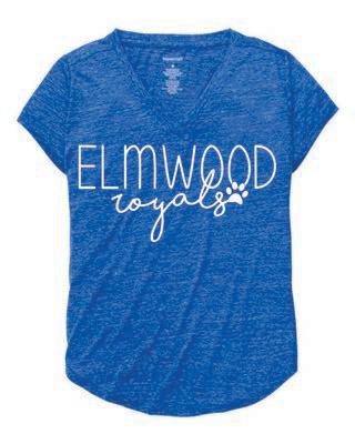 Elmwood-Girls Snow Heather V-Neck *Glitter Print