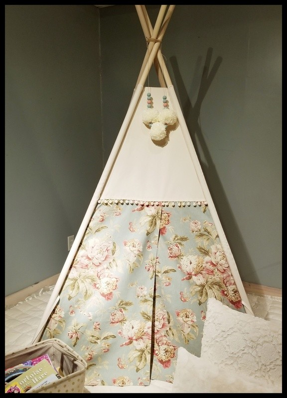 Southern Belle Teepee, Play Tent, Shabby Chic Kids Room Decor, Nursery Decor, Floral Teepee, Reading Nook, Cotton Canvas Kids Play Tent