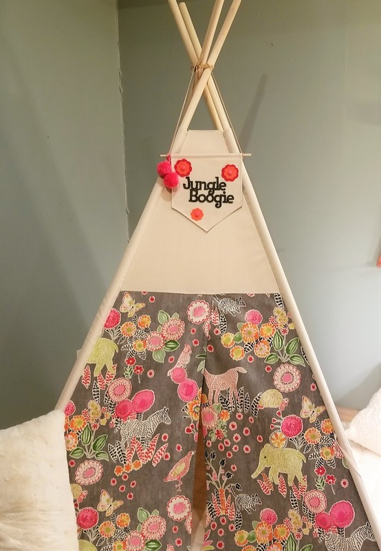 Safari Adventure Teepee, Reading Nook, Tipi, PInk and Gray Nursery Decor, Kids room Decor, Cotton Canvas Kids Play Tent