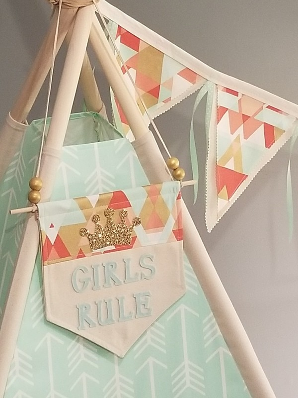Mint for Me Teepee! Play Tent, Reading Nook, Tipi, Tribal Nursery, Girls Rule