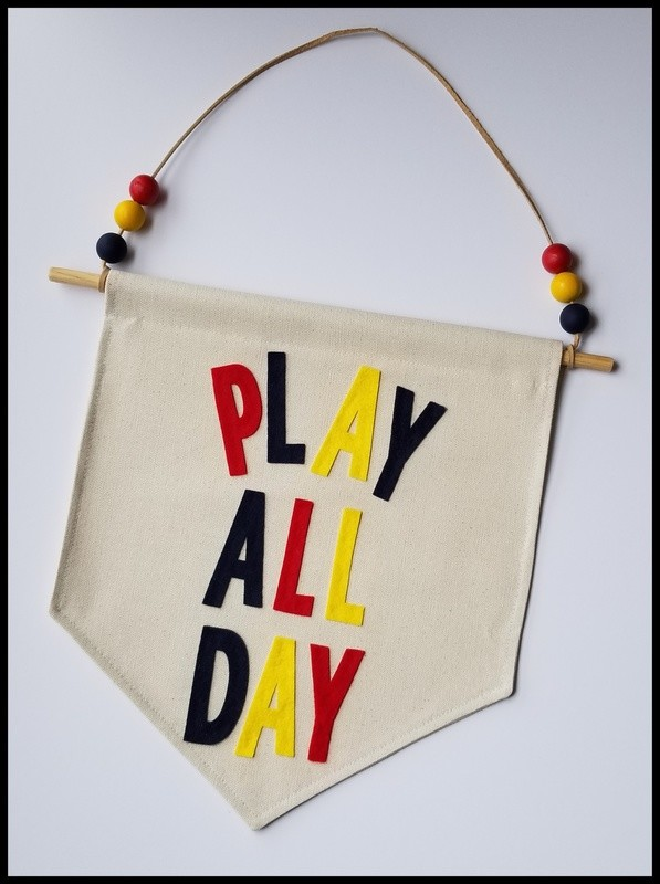 Play All Day Banner, Hanging Wall Banner, Kids Room Decor, Handmade Wall Art, Kids Gift, FREE SHIPPING