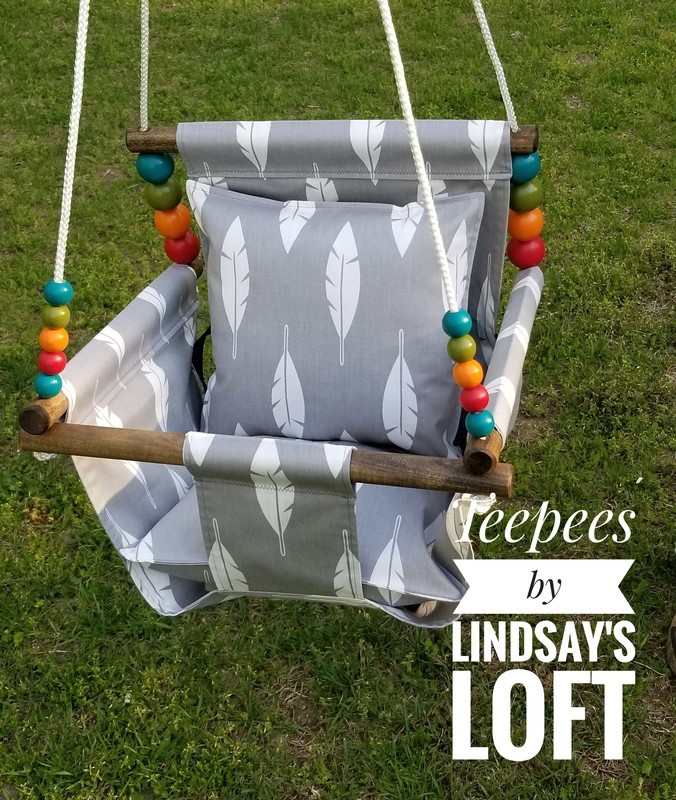 Canvas Baby Swing High-Back, Handmade Baby Swing, Indoor/Outdoor Swing, Wood Baby Swing, Toddler Swing, Baby Shower Gift, Child Birthday Gift
